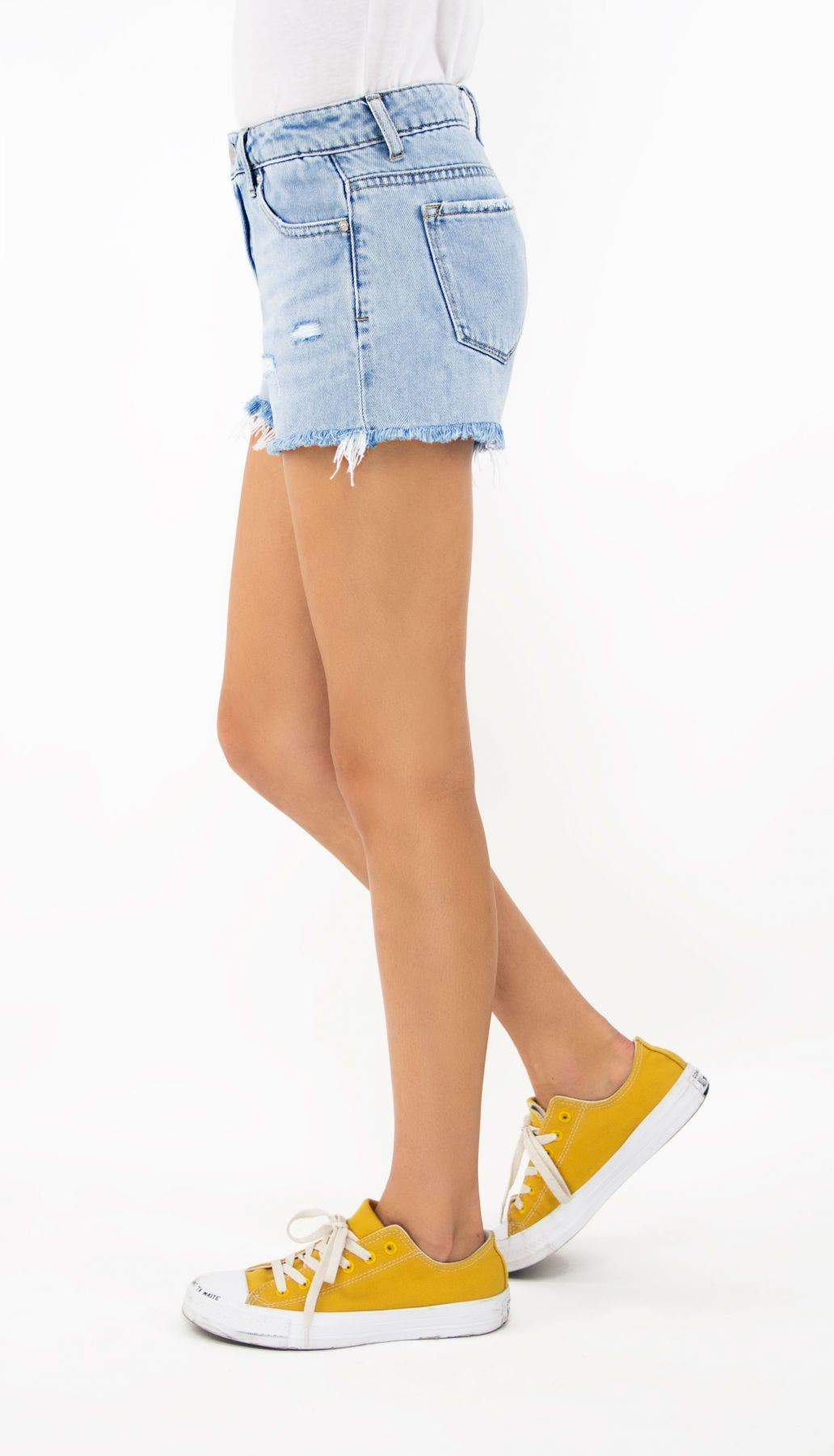 Tractr Girls Brittany - Mid-Rise Fray Hem Shorts