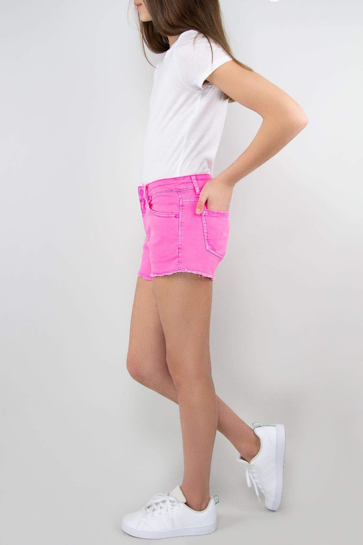 Tractr Girls Brittany - Mid-Rise Fray Hem Neon Shorts