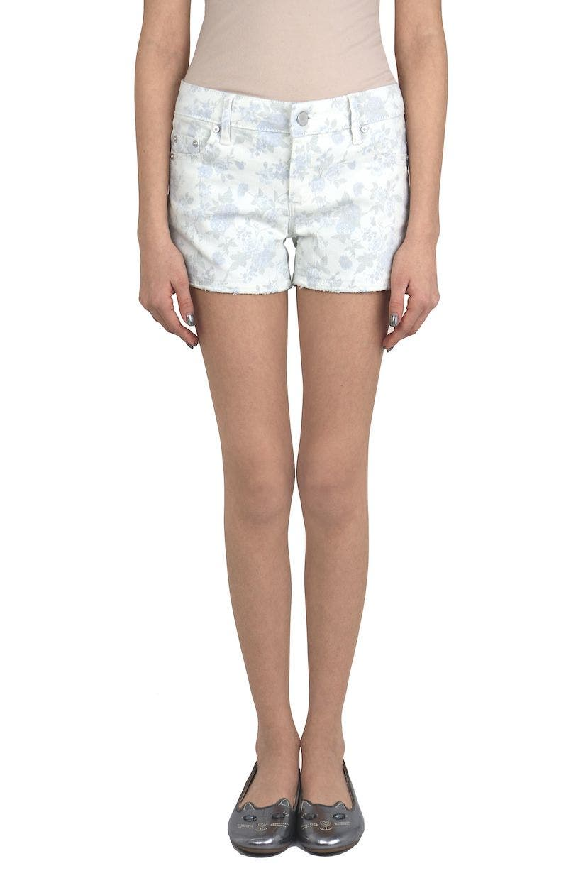 Brittany Floral Faded Denim Shorts