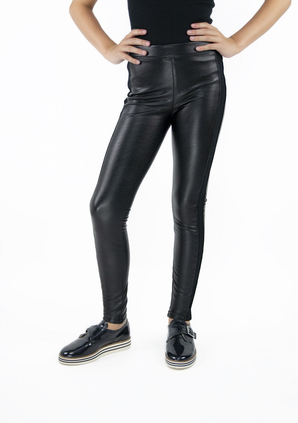 High-Rise Vegan Leather Pull On Legging