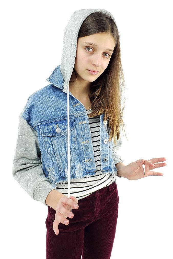 Ripped Denim Crop Jacket With French Terry Combo