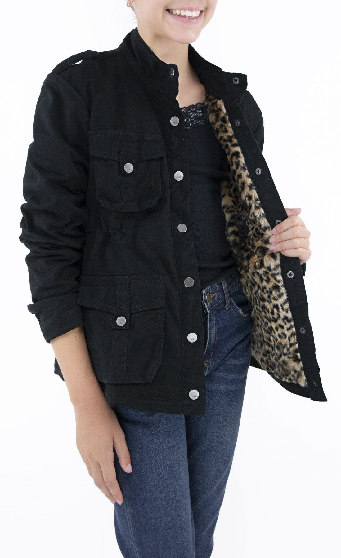 Faux Fur Lined Military Jacket