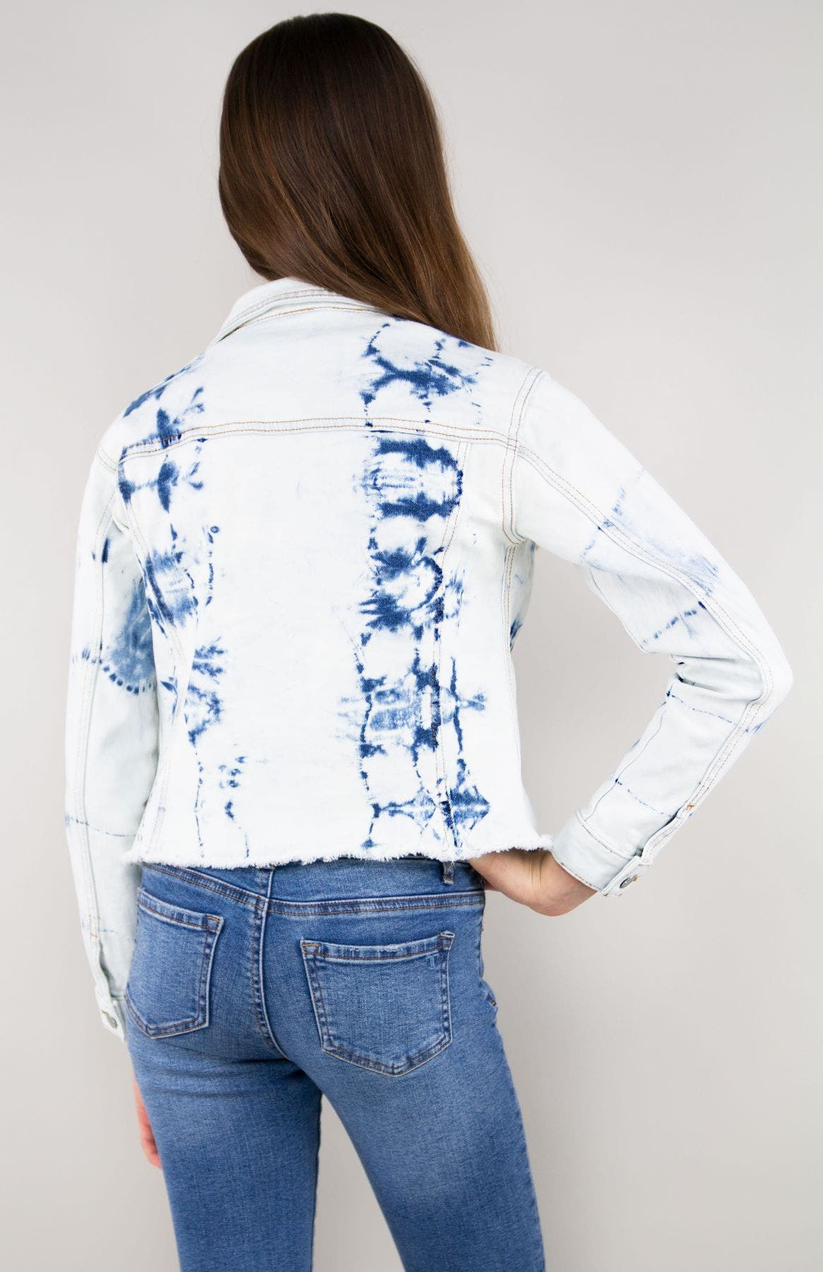 Girls Relaxed Cropped Tie Dye Denim Jacket