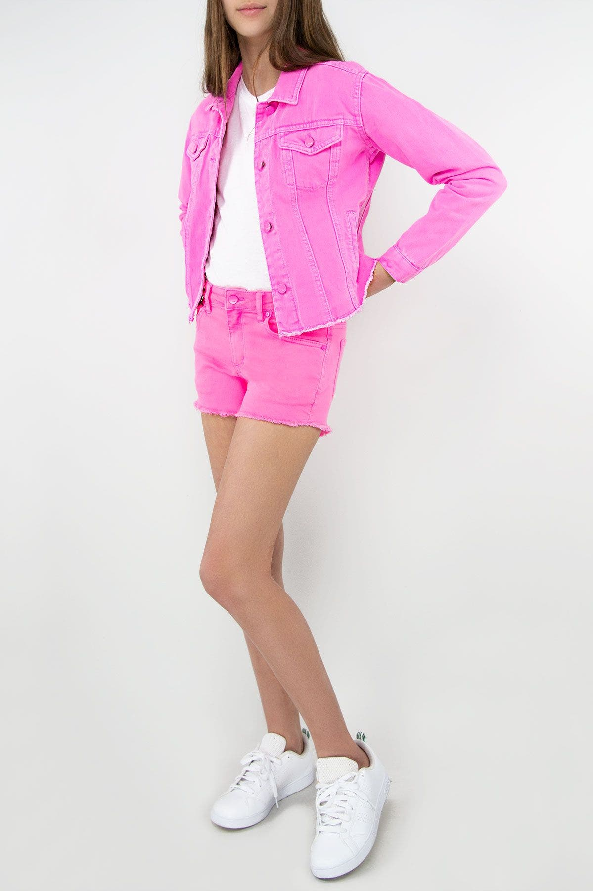 Girls Relaxed Cropped Neon Pink Denim Jacket