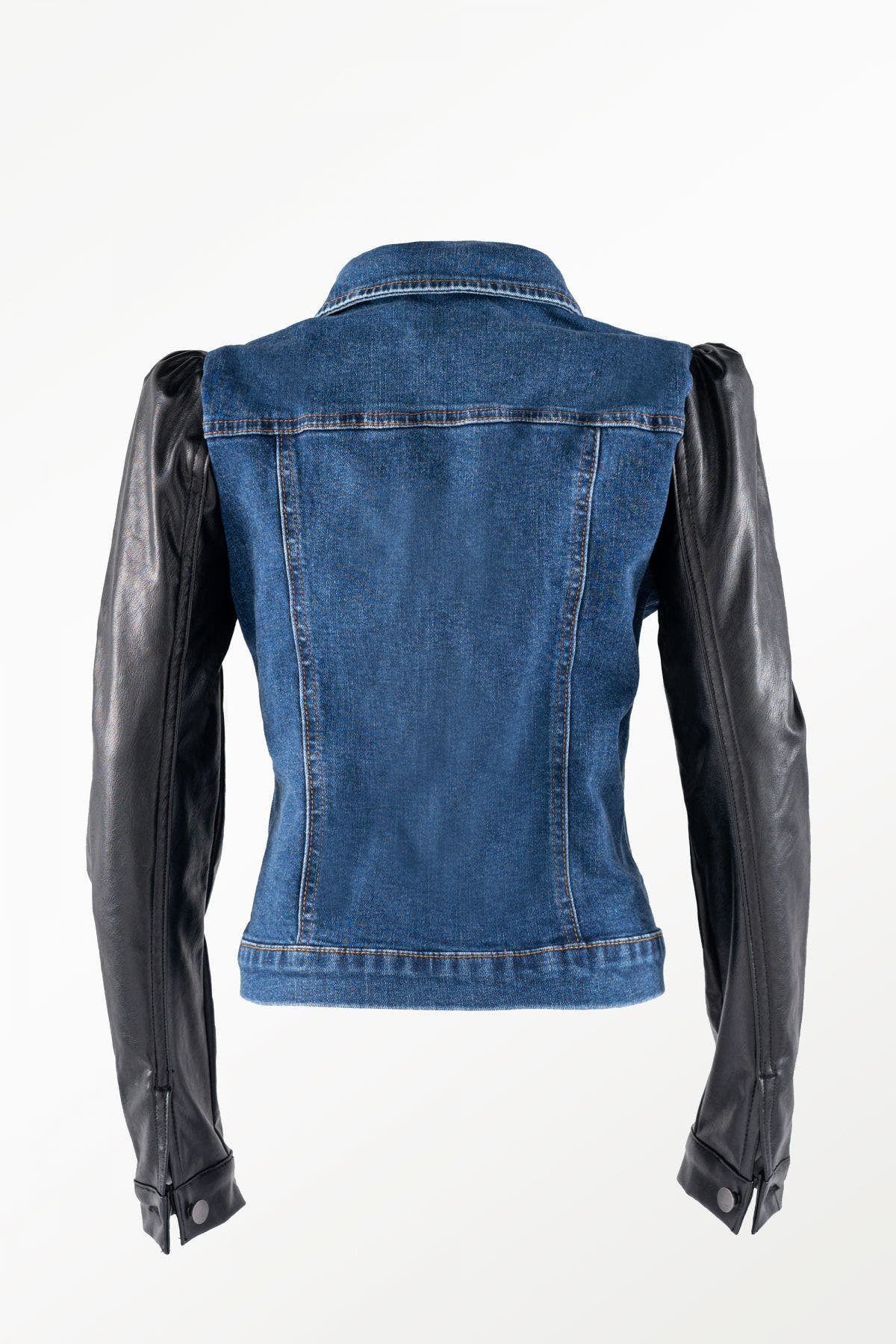 Vegan Leather Mutton Sleeve Denim Jacket