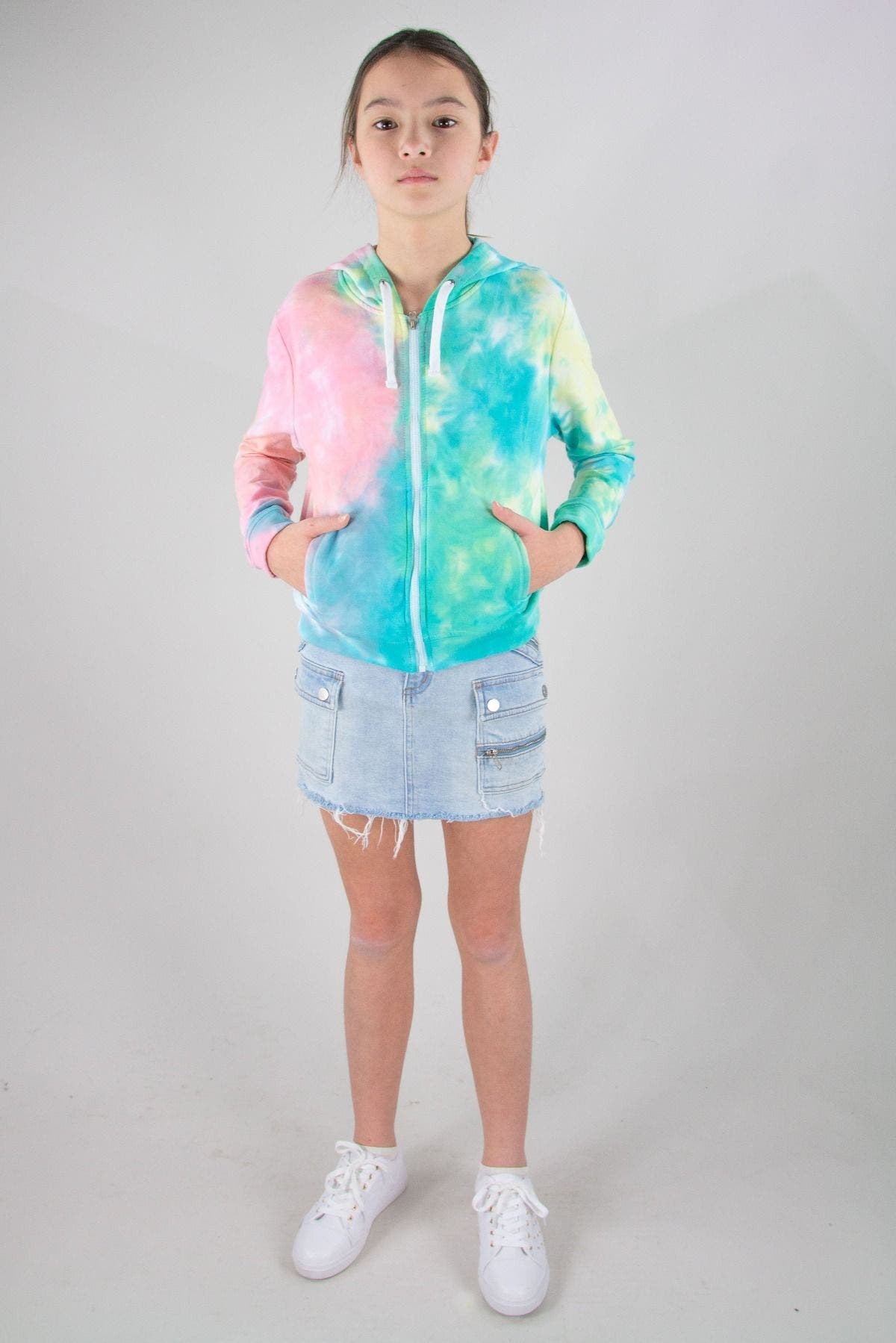 WATERCOLOR TIEDYE ZIP UP HOODIE