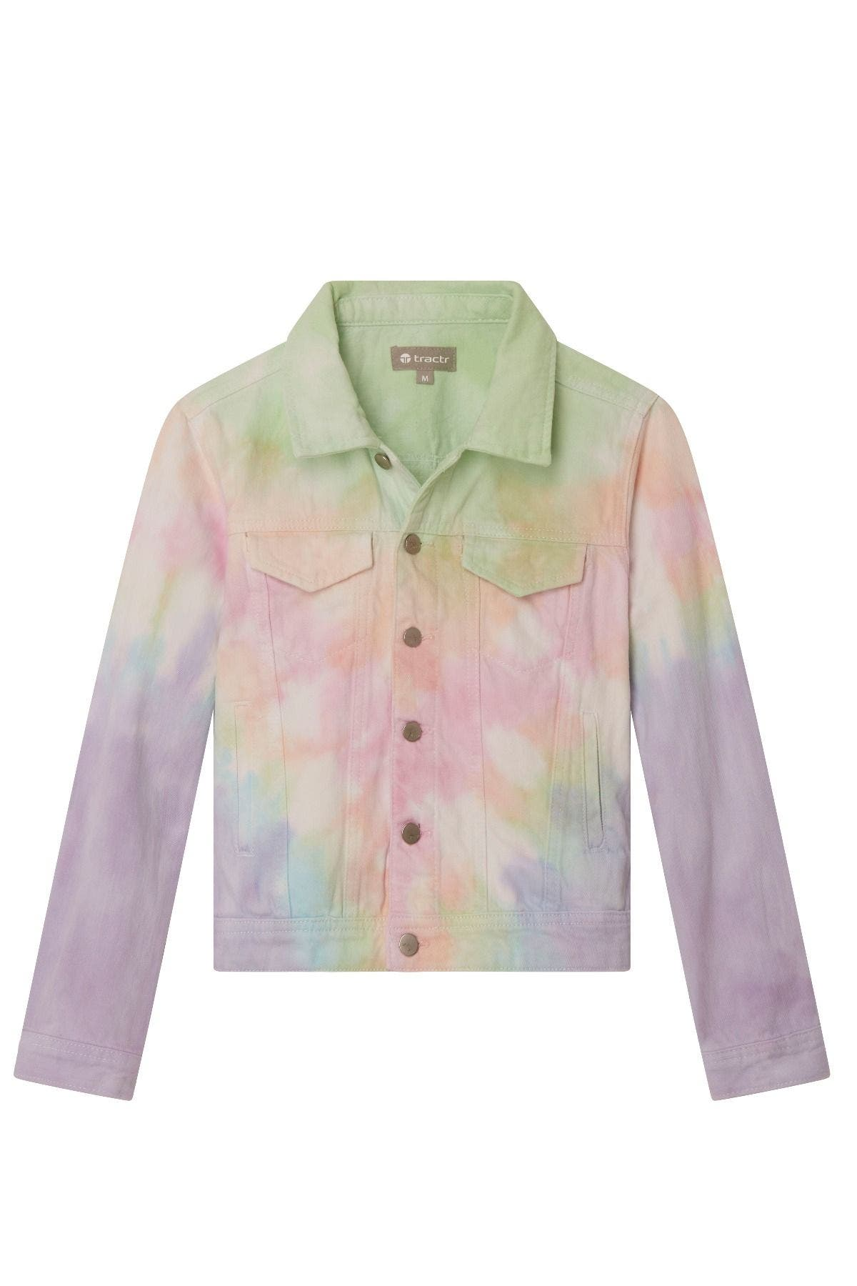 Tractr Girls Cropped Tie Dye Denim Jacket