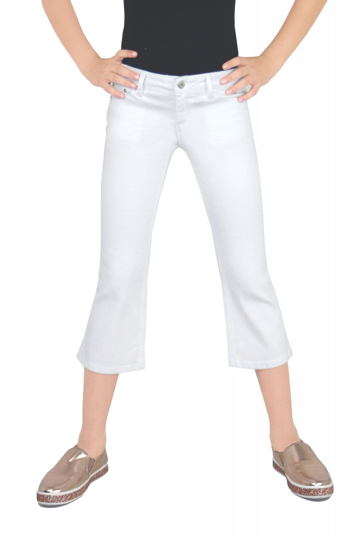 Tractr Girls Crop Flare White Jeans