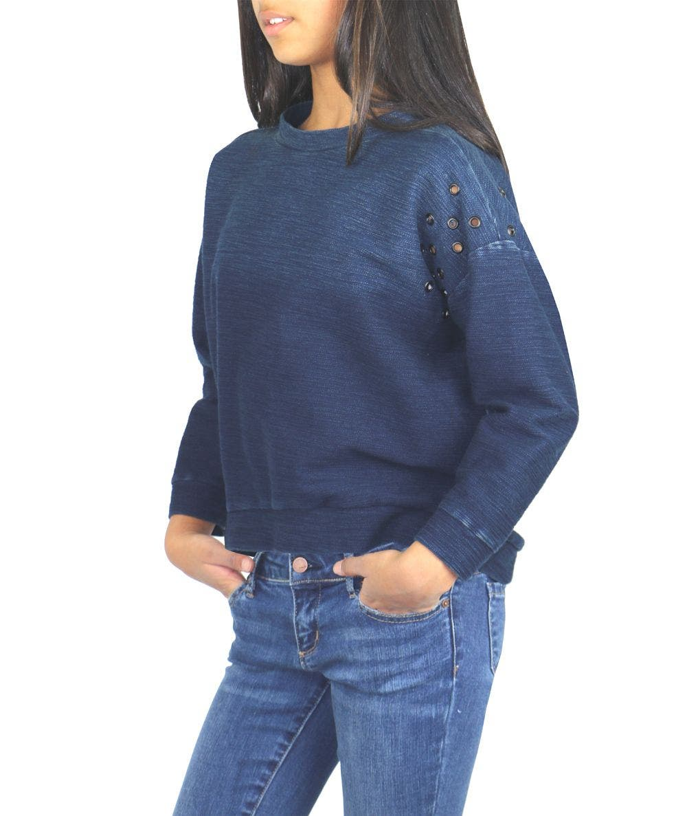 Oversize Sweater W/ Grommet Shoulder