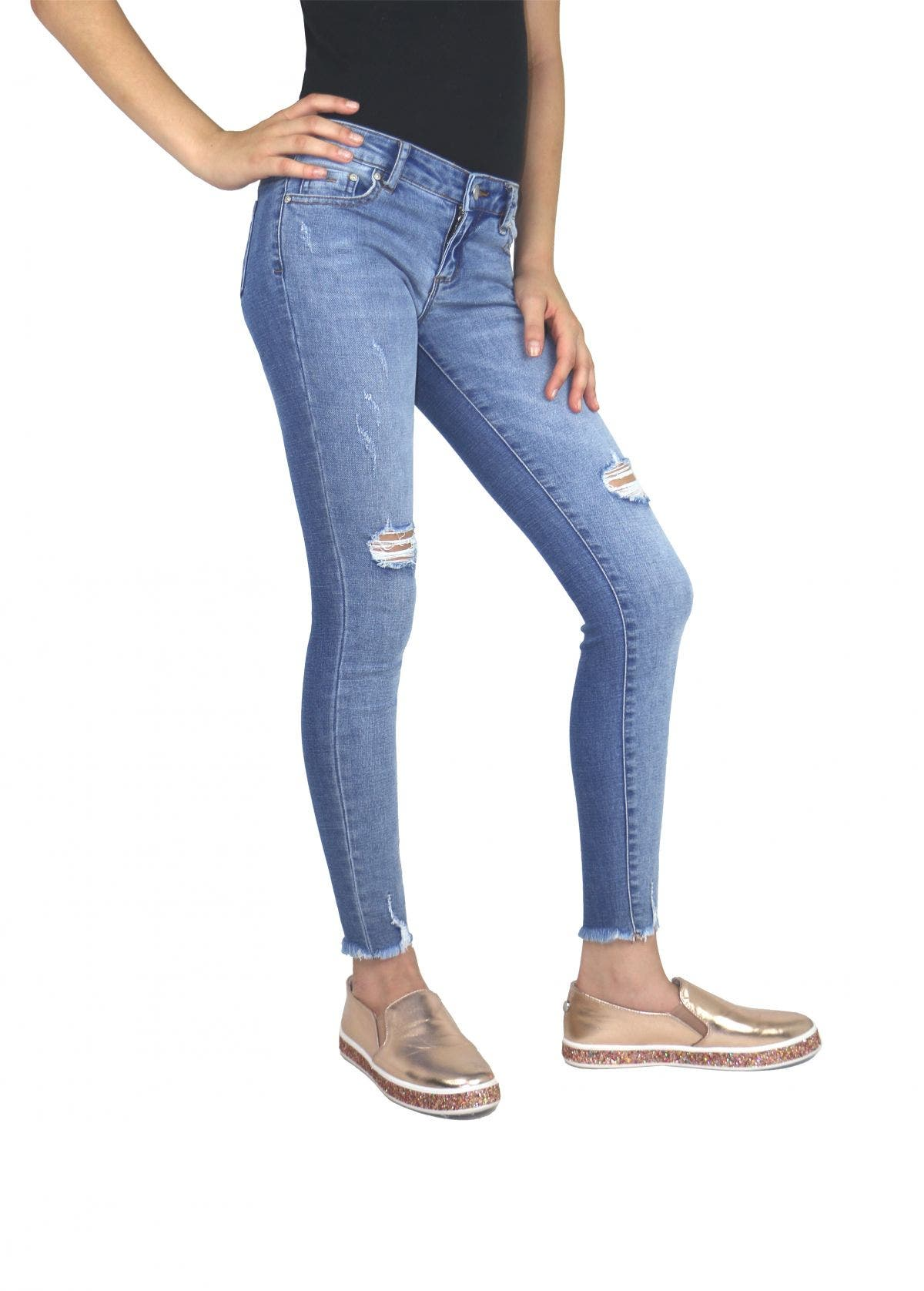 Tractr Girl Two Toned Skinny Jean