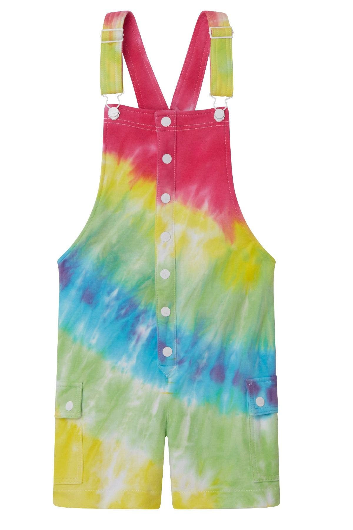 TIE DYE BUTTON UP FRONT KNIT SHORTALL