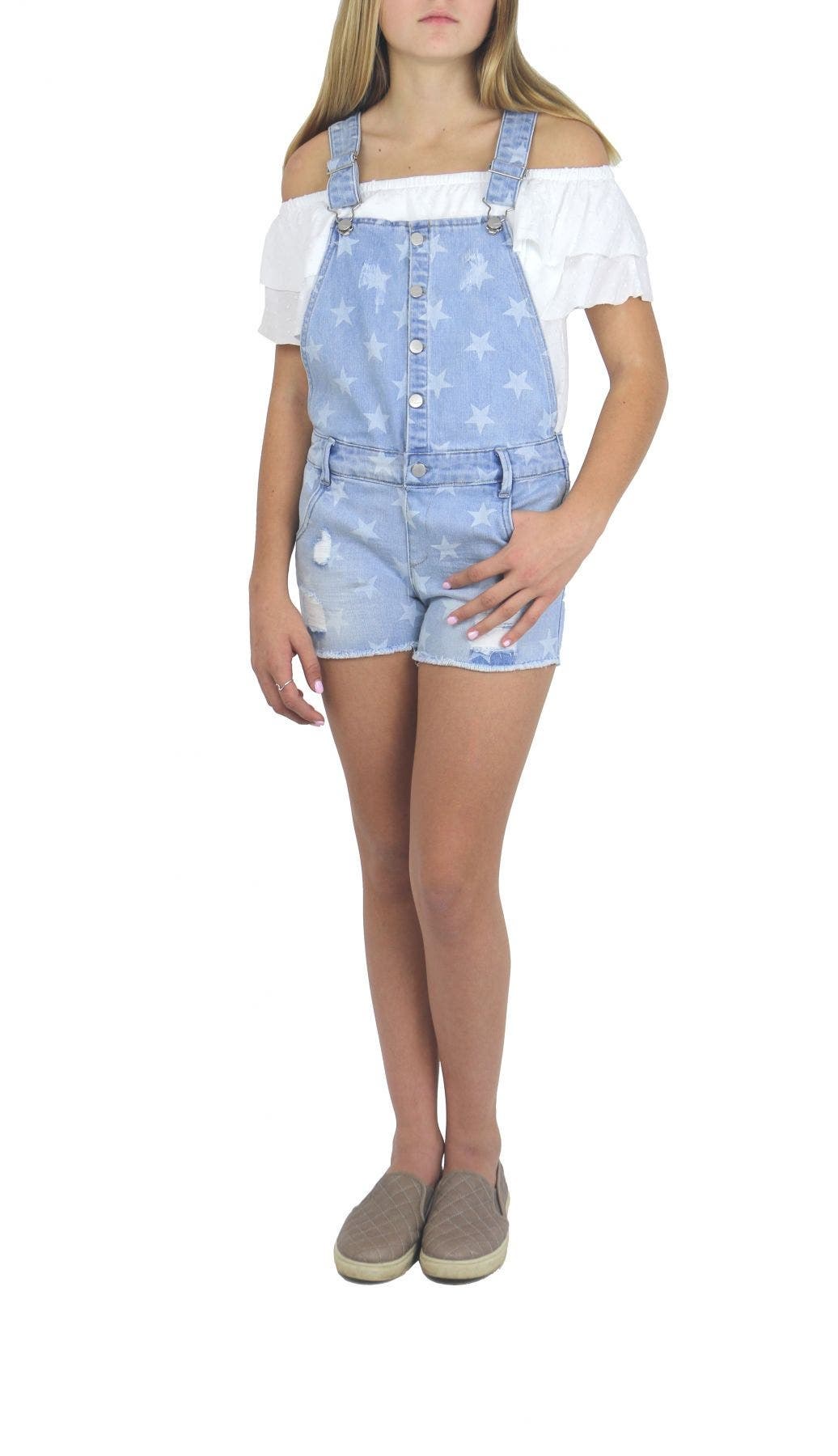 Tractr Girls Star Print Overall 4-6x