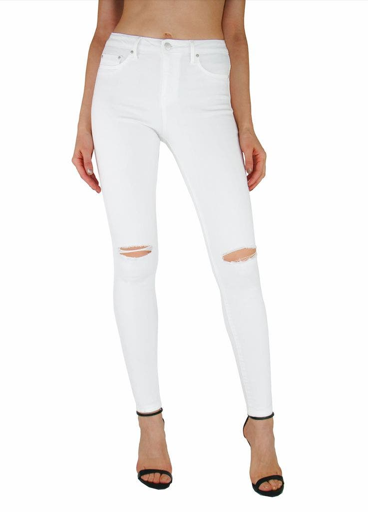 Tractr Jeans High Rise Knee Slit White Skinny