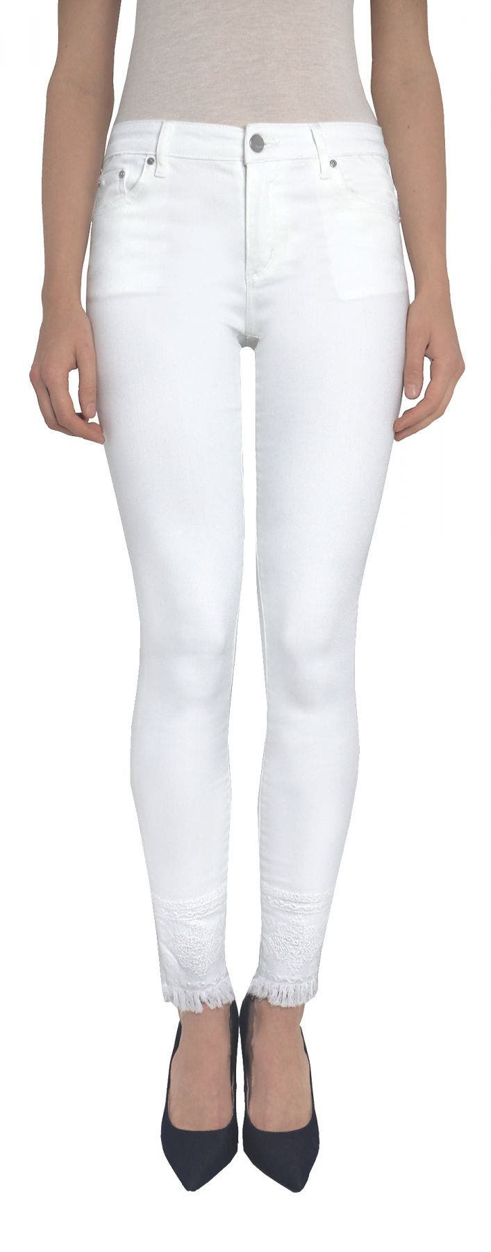 Tractr Basic Fray Hem Skinny Featuring White on White Embroidery Detail