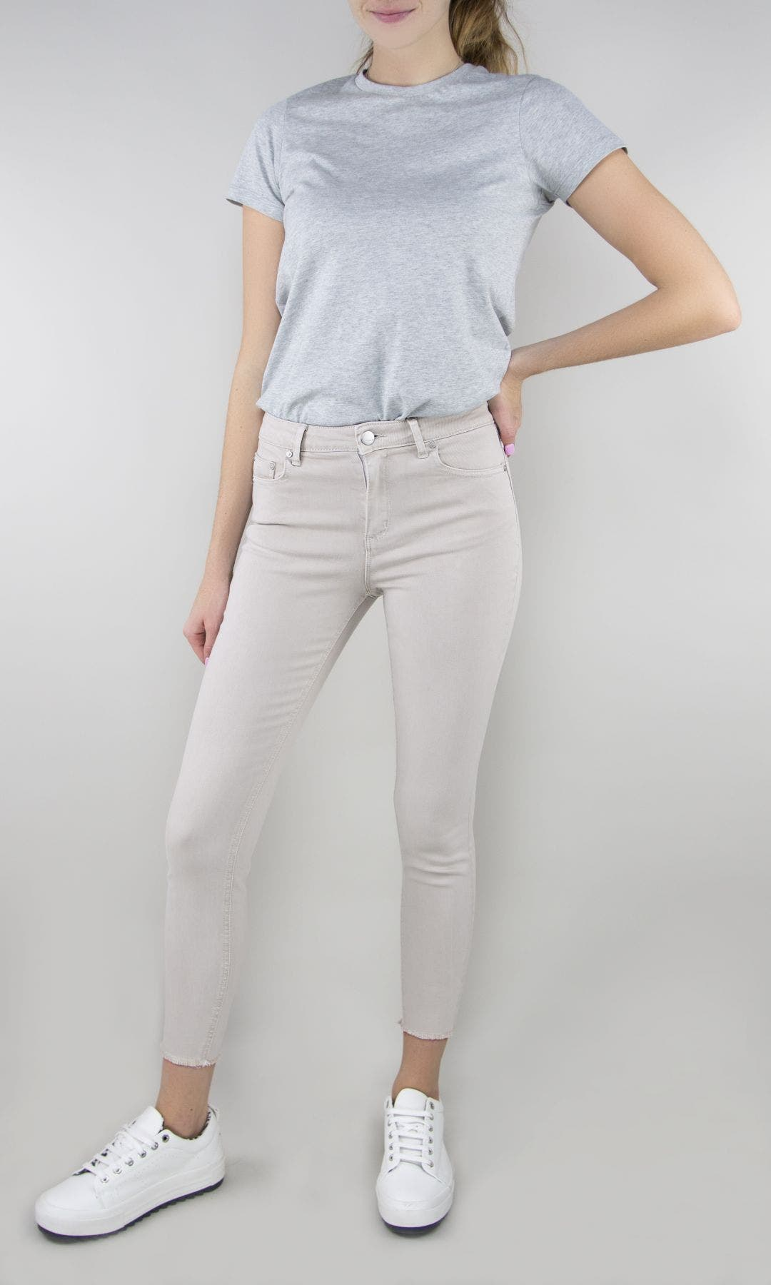 Mona Basic High Waist Skinny Crop Pants