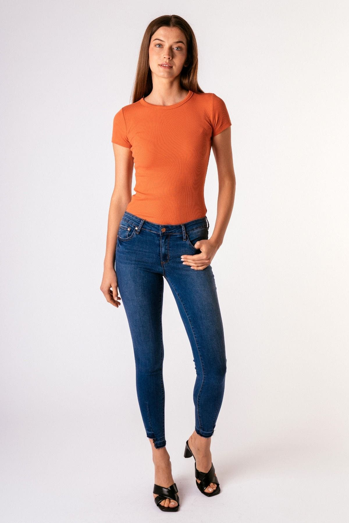 5 Pocket Uneven Hem Ankle Crop