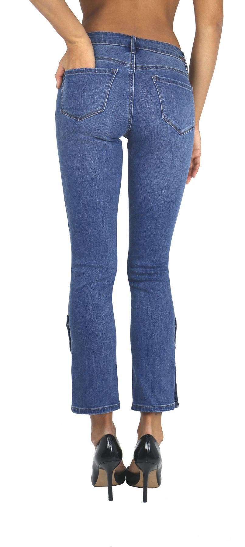 Tractr Jeans with Side Snap Buttons Detail  [Final Sale]