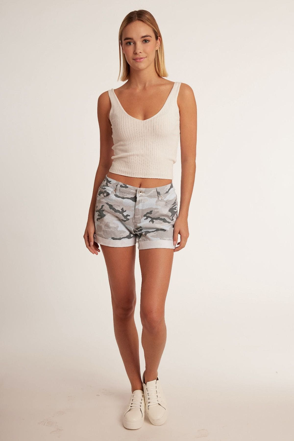 Relaxed Camo and French-Terry Denim Short