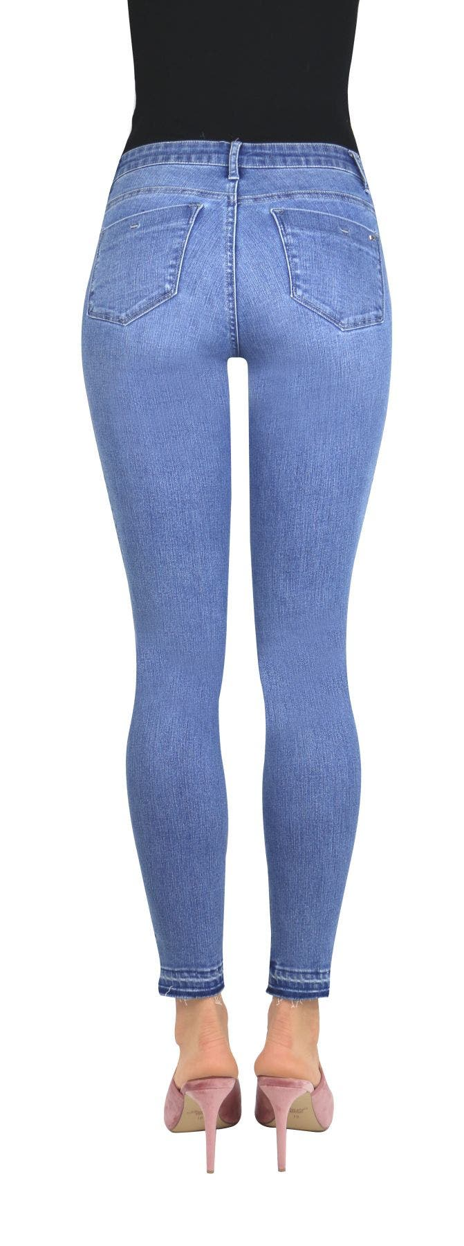 Tractr Blu Embroidery Skinny with Asymmetrical Released Hem