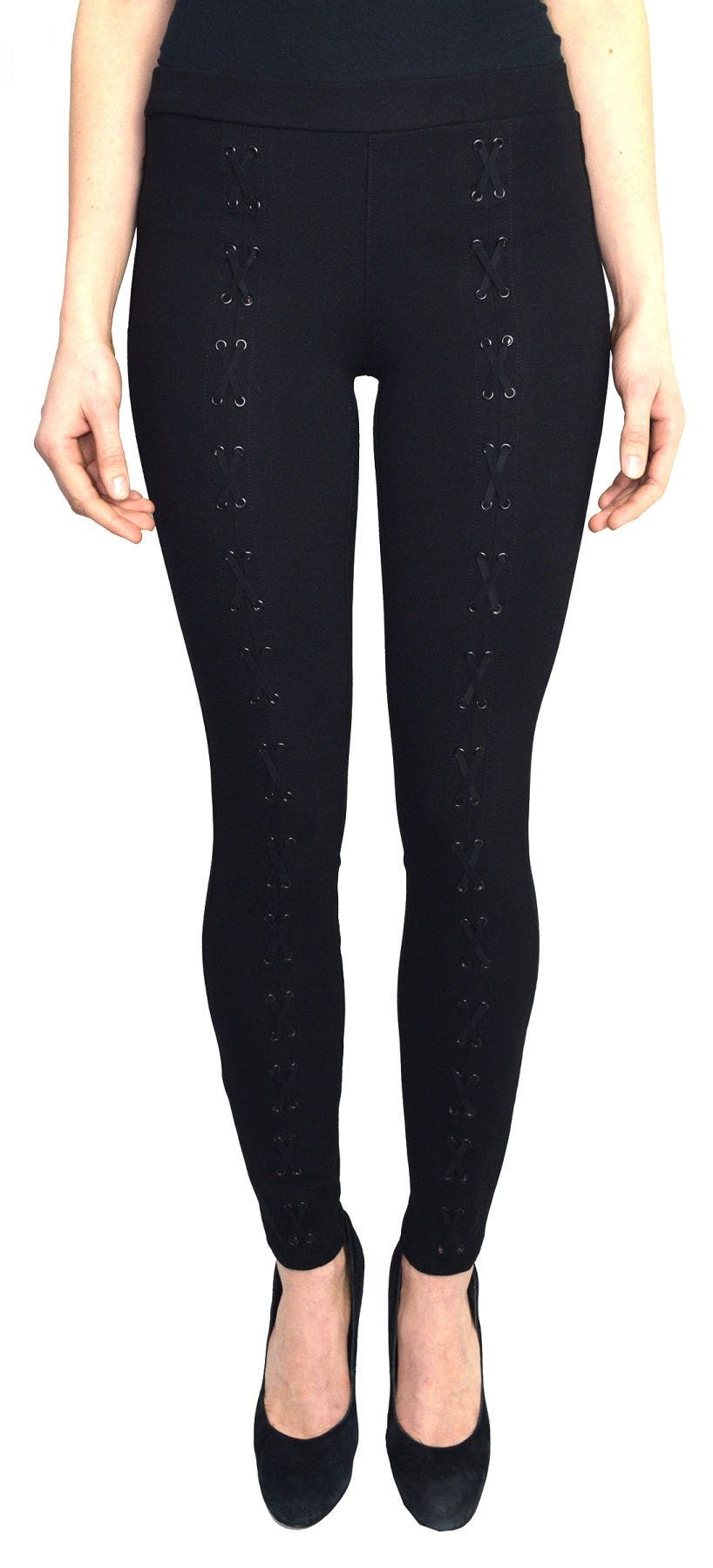 Tractr Blu Front Lace Up Legging-Ponte