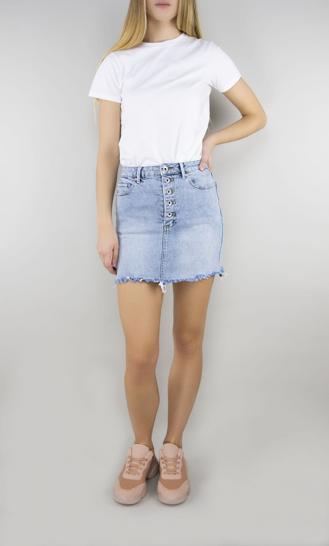 Tractr Blu Button Front Mini Skirt