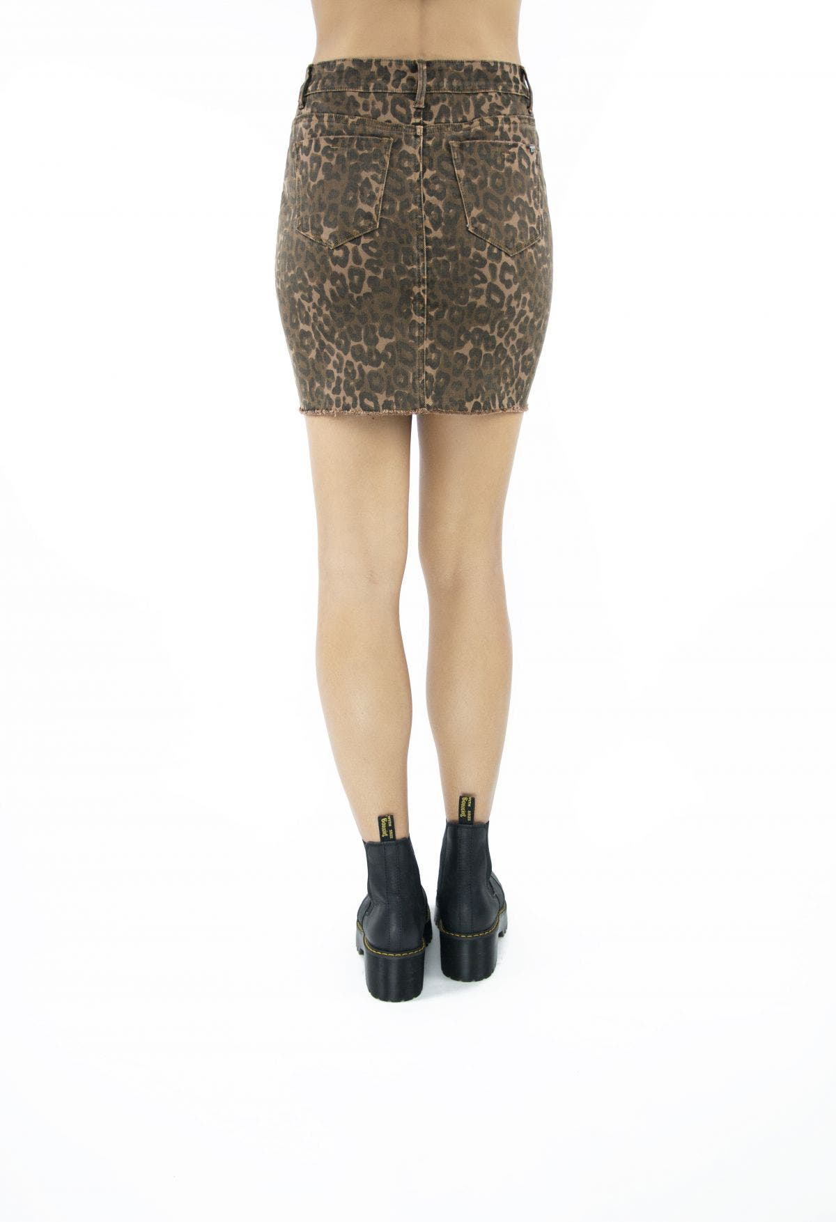 Tractr Blu Lisa Leopard Denim Skirt