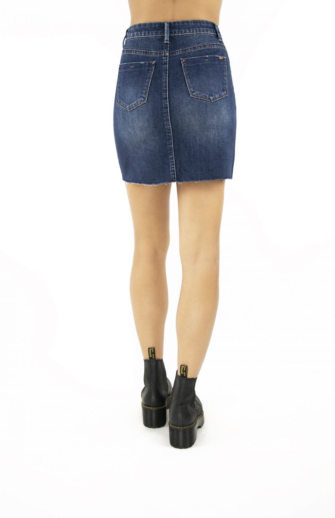 Tractr Blu Lisa Raw Cut Denim Skirt