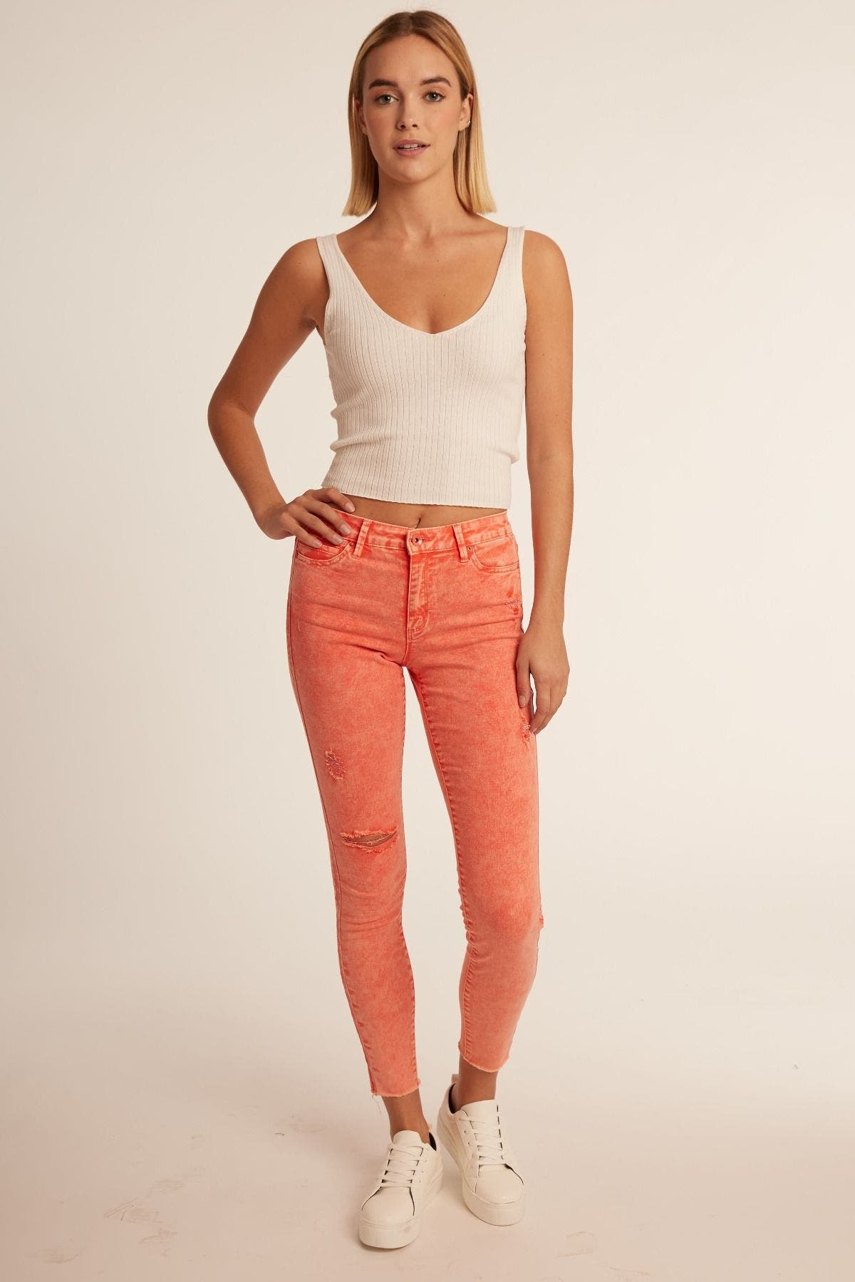 High Rise Color Ankle Crop