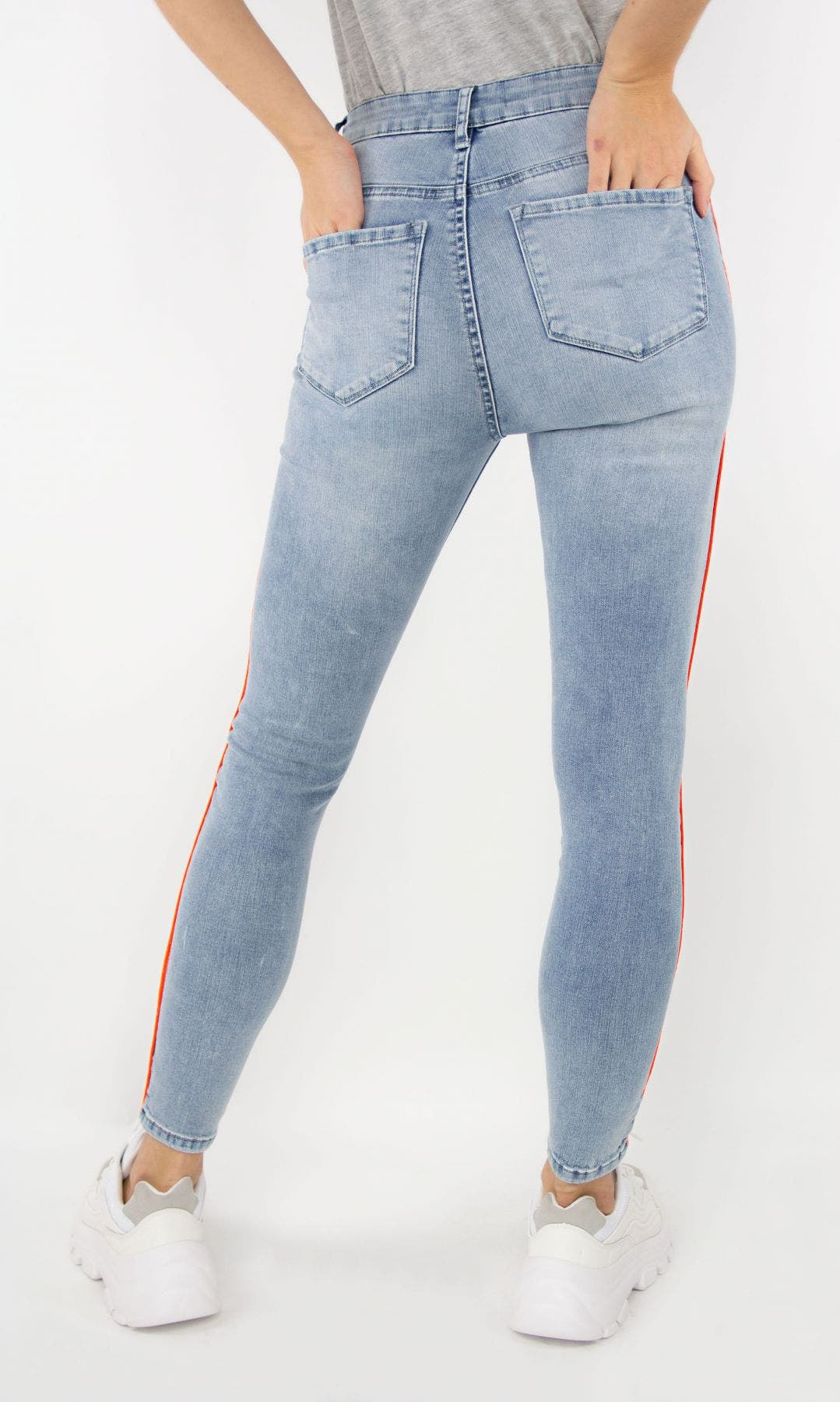 High Rise Neon Piping Skinny Jean