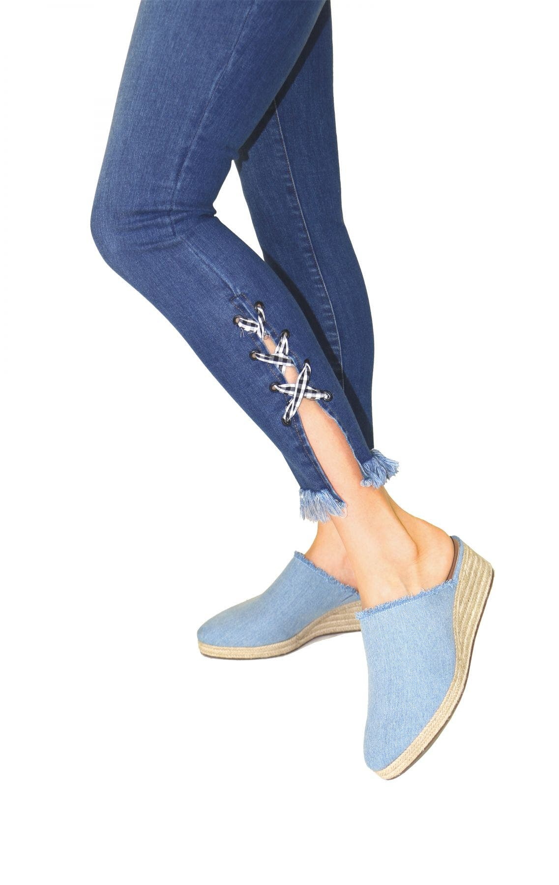 Tractr Blu Gingham Side Lace Up Ankle Crop Skinny Jean