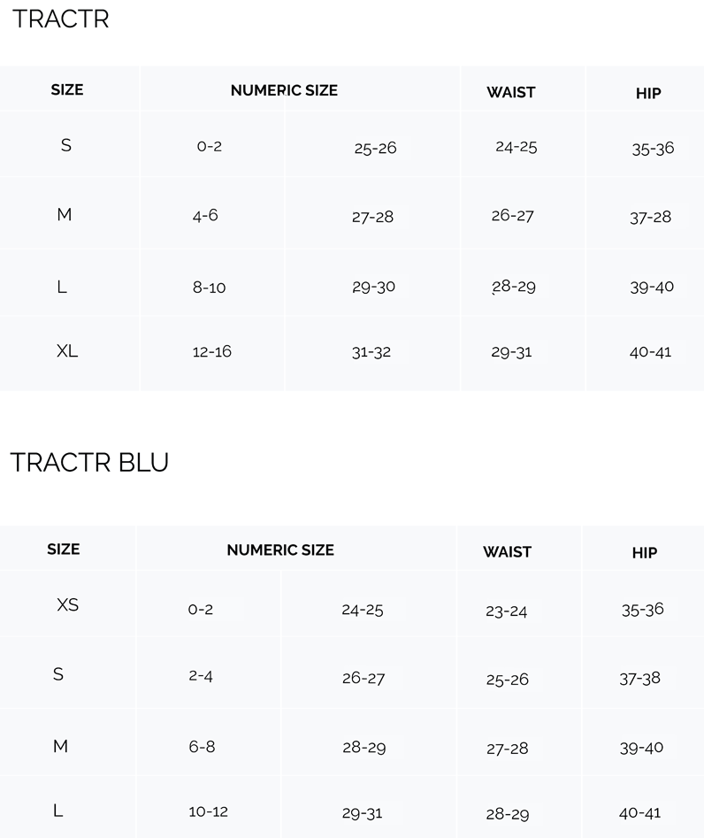 tractr sizing guide